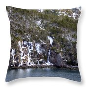 Icy Cliff In Winter Throw Pillow