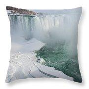 Icy Fury - Niagara Falls Spectacular Ice Buildup Throw Pillow