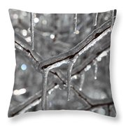 Icy Glitters Throw Pillow