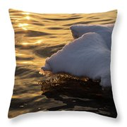 Icy Gold And Silk - Luminous Icicles Reflected On Glossy Water Throw Pillow