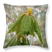 Icy Leaves Throw Pillow