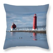 Icy Lighthouse Throw Pillow