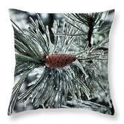 Icy Pine Throw Pillow