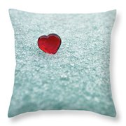 Icy Red Heart Throw Pillow