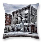 Icy Remains - After The Fire Throw Pillow by Jeff Swanson