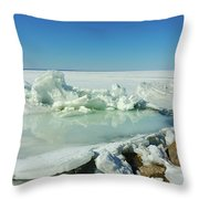 Icy Sculptures On Lake Simcoe Throw Pillow