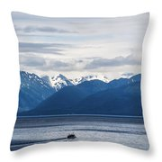 Icy Strait Fishing Throw Pillow