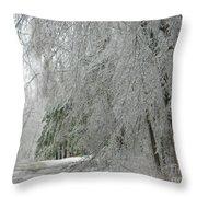 Icy Street Trees Throw Pillow