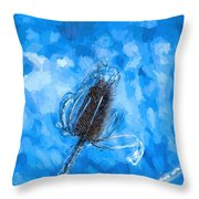 Icy Thistle Plant Throw Pillow