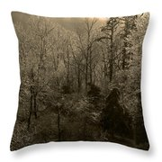 Icy Trees In Sepia Throw Pillow