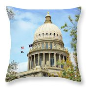 Idaho State Capitol In The Spring Throw Pillow