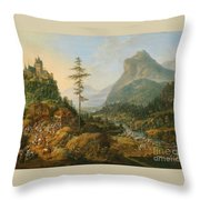 Idealized River Landscape With A Hunting Party Throw Pillow