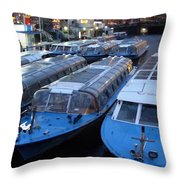 Idle Tour Boats -- Amsterdam In November Throw Pillow