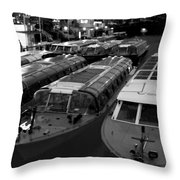 Idle Tour Boats -- Amsterdam In Winter Bw Throw Pillow