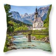 Idyllic Church In The Alps Throw Pillow