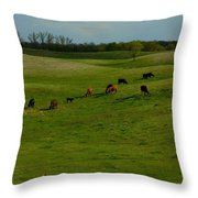Idyllic Cows In The Hills Throw Pillow
