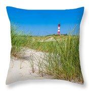 Idyllic Dunes And Lighthouse At North Sea Throw Pillow