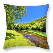 Idyllic Krka River In Knin Landscape Throw Pillow