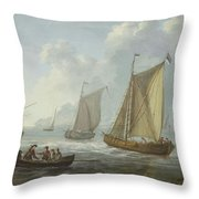 Idyllic Lake Shore With Two Boats Throw Pillow