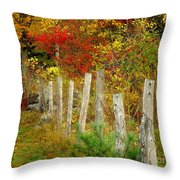If I Could Paint No 1 - New England Fall Fence Throw Pillow
