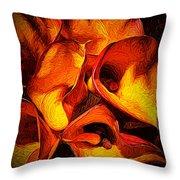 If Van Gogh Painted Calla Lilies Throw Pillow