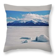 Igloo On Atlin Lake - Bc Throw Pillow