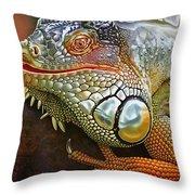 Iguana Full Of Color Throw Pillow