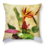 Ikebana Bird Of Paradise Throw Pillow