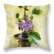 Ikebana Lilacs Throw Pillow