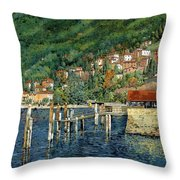 il porto di Bellano Throw Pillow