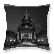 Illinois State Capitol B W Throw Pillow