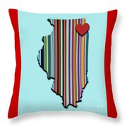 Illinois With Love Geometric Map Throw Pillow