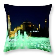 Illuminated Fountain Of Istanbul Throw Pillow