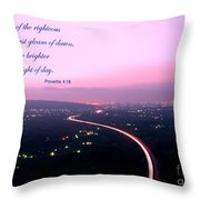 Illuminated Highway At Dusk - Greeting Card With Scripture Verse Throw Pillow by Yali Shi