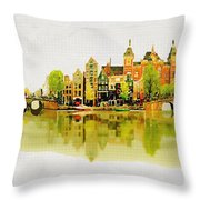 Illustration Of Amstradam In Watercolour Throw Pillow