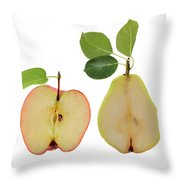 Illustration Of Apple And Pear Throw Pillow