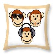 Illustration Of Cartoon Three Monkeys See Hear Speak No Evil Throw Pillow