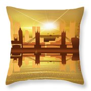 Illustration Of City Skyline - London  Sunset Panorama Throw Pillow
