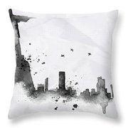 Illustration Of City Skyline - Rio De Janeiro In Chinese Ink Throw Pillow