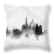Illustration Of City Skyline - Rome In Chinese Ink Throw Pillow