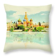 Illustration Of Moscow In Watercolour Throw Pillow