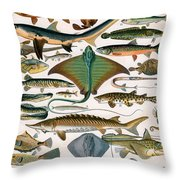 Illustration Of Ocean Fish Throw Pillow