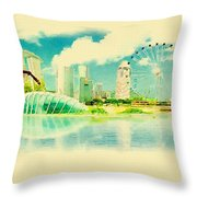 Illustration Of Singapore In Watercolour Throw Pillow
