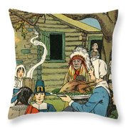 Illustration Of The First Thanksgiving Throw Pillow