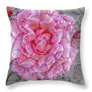Illustration Rose Pink Throw Pillow