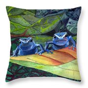 I'm In Love With A Big Blue Frog Throw Pillow