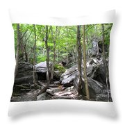 Image Included In Queen The Novel - Rocks At Smugglers Notch Throw Pillow