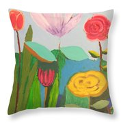 Imagined Flowers One Throw Pillow