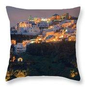Imerovigli After Sunset, Santorini Throw Pillow