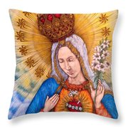 Immaculate Heart Of Virgin Mary Throw Pillow
